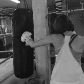 boxing heavybag work with female