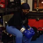 Millie resting after boxing drills
